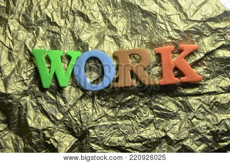 word work on an abstract colored  background