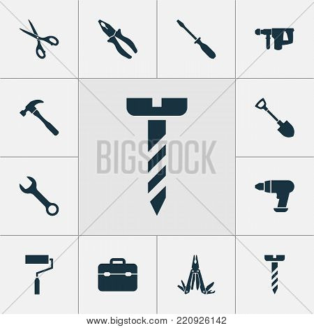 Repair icons set with repair, digging, paint and other screw elements. Isolated vector illustration repair icons.