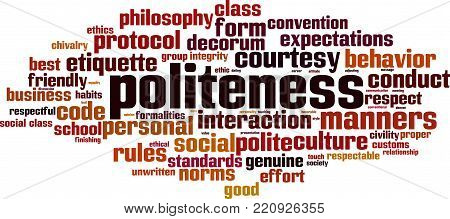 Politeness word cloud concept. Vector illustration on white