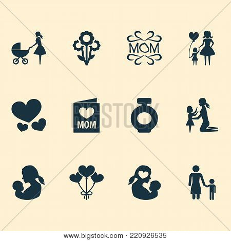 Mothers day icon design concept. Set of 12 such elements as mam, heart and child. Beautiful symbols for design, flower and daughter.