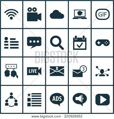 Internet icons set with play, gif sticker, wireless connection and other wireless connection elements. Isolated vector illustration internet icons.