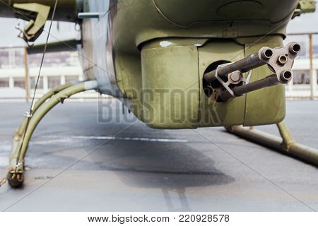 Machine gun at the battle helicopter, close up