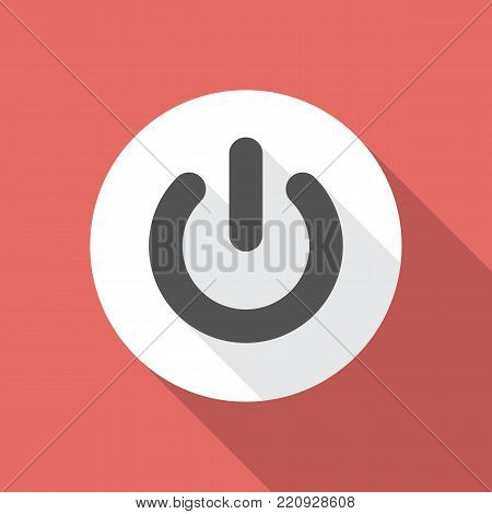 Power button icon with long shadow. Flat design style. Power on off button simple silhouette. Modern, minimalist icon in stylish colors. Web site page and mobile app design vector element.