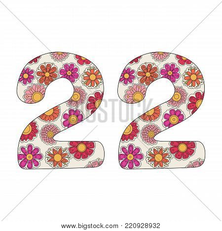 Zen coloring book for adults number twenty-two. Figure 22 tangle pattern. Flower vector illustration. Birth day.