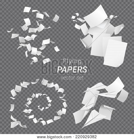 Vector set of different groups of flying papers and paper planes isolated on transparent background