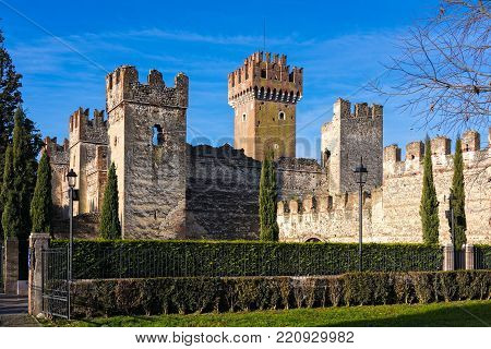 Part of the Scaligero castle in Lazise, Italy