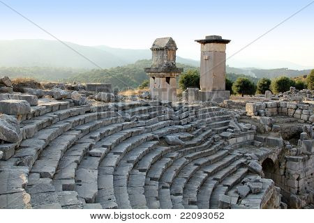 Turkey Patara ancient city amphitheater and rock-cut tombs