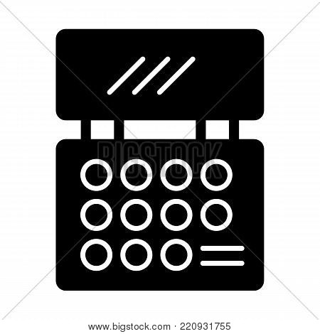 Makeup cosmetics palette vector icon. Black eyeshadow palette illustration on white background. Solid linear beauty icon. eps 10