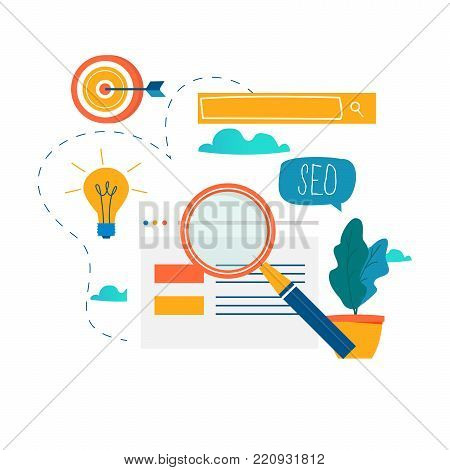 SEO, search engine optimization, keyword research, market research flat vector illustration. SEO concept. Web site coding, internet searching optimization design for mobile and web graphics