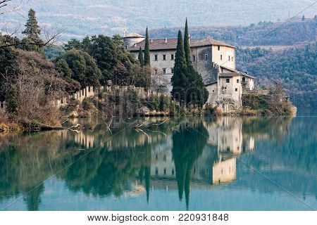View of the Toblino castle in northern Italy