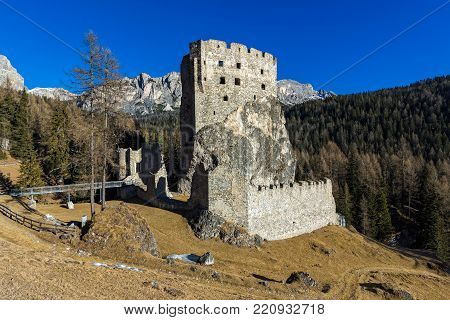 View of the Andraz castle in Trentino, Italy