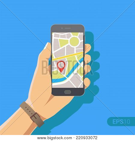 Hand holding phone with map and marker. Mobile gps navigation and tracking concept. New Flat vector cartoon illustration. Location track app on touch screen smartphone