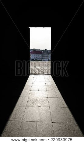 Lublin, Poland - August 11, 2017: View from the door of The Royal Castle of Lublin, Poland and bright blue sky. Lublin is the biggest city in eastern Poland. Lublin old city center.