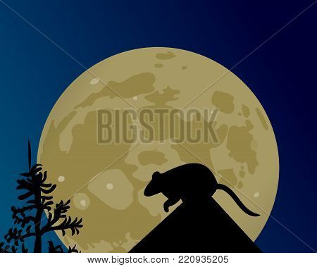 A huge moon glows in the night sky. The silhouette of the rat on the roof vector illustration.