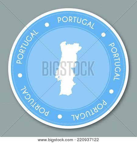 Portugal Label Flat Sticker Design. Patriotic Country Map Round Lable. Country Sticker Vector Illust