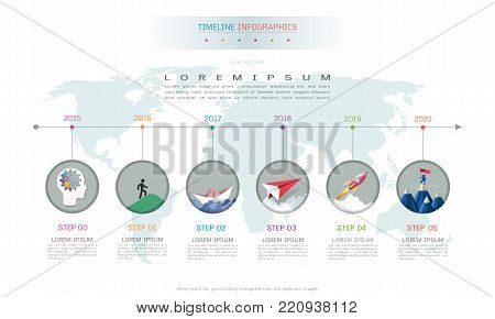 Business infographics template, Strategic plan to define company values, Scheduling in project management to make facts and statistics.