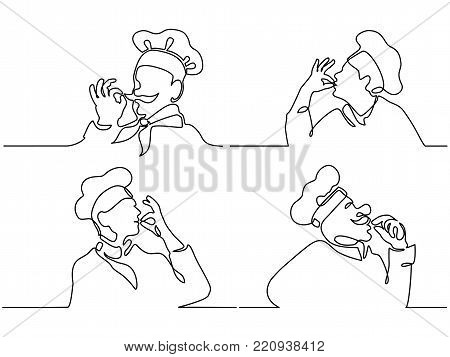 Set. Continuous line drawing. Chef or cook making tasty delicious gesture by kissing fingers isolated on white. Vector illustration