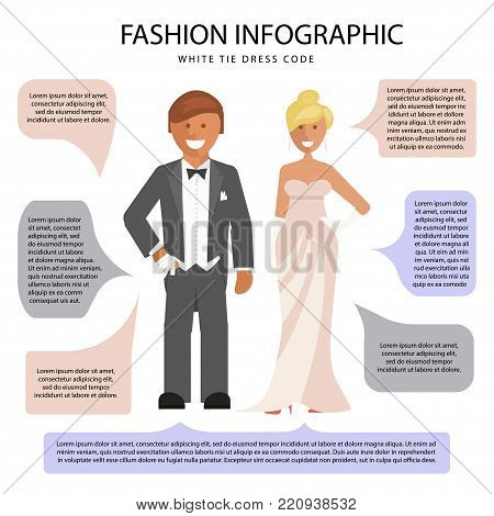 White tie dress code infographic. Man and woman in evening suit with notes isolated on white background. Vector illustration of people in formal clothes.