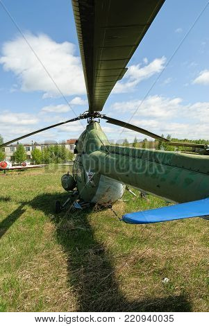 Yalutorovsk, Russia - May 24. 2008: Old Mi-2 helicopter on grass of sport airport