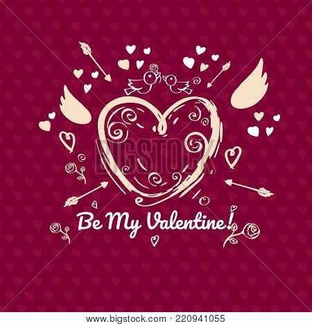 Greeting card design for valentines day. Red version.  Single sided greeting card with place for message.  Hand drawn heart with Cupid wings and arrows on red  background with little hearts