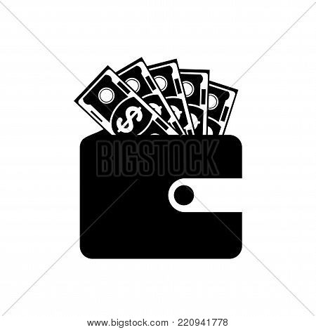 Purse vector flat black icon. Wallet with money of successful businessman. Bank and finance, budget and planning. Objects isolated on white background.
