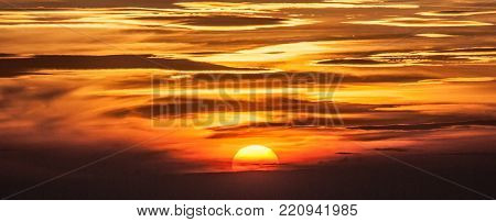 sunset with colorful sky with few clouds from Klak hill summit in Mala Fatra mountains in Slovakia