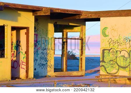 January 2, 2018 in Salton City, CA:  Abandoned collapsing building which was once a resort at a beach overlooking the Salton Sea taken in Salton City, CA where people can see how a once popular beach community turned into a forgotten ghost town