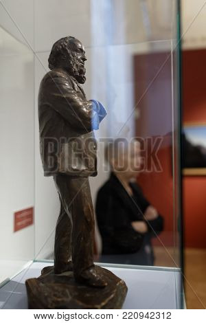 ST. PETERSBURG, RUSSIA - MARCH 21, 2017: Statue of Ivan Aivazovsky in his exhibition in the Russian Museum. More than 300,000 people visited the exhibition