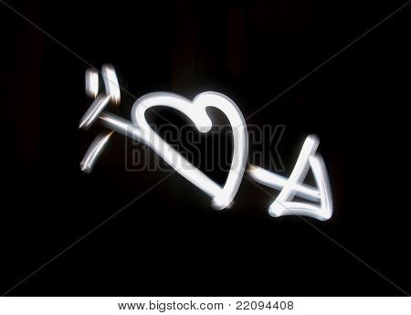 Lightbrushed Heart With Arrow