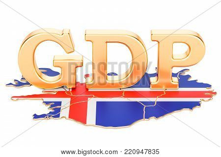 gross domestic product GDP of Iceland concept, 3D rendering isolated on white background
