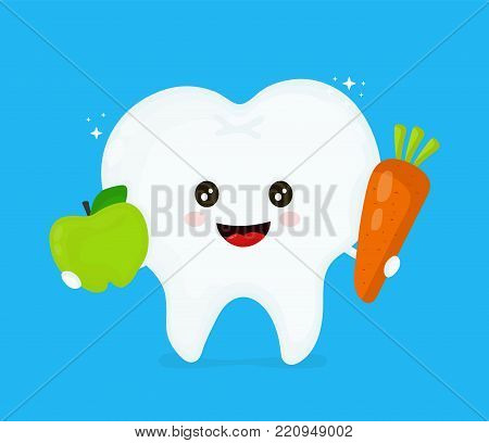 Cute smiling happy healthy tooth with carrot and apple. Hygiene medical,good teeth,nutrition food concept. Vector flat illustration icon cartoon character design.