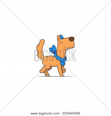 Happy cartoon puppy sitting, Portrait of cute little dog wearing collar. Dog friend. Vector illustration. Isolated on white background.