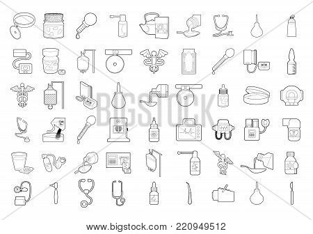 Medical tools icon set. Outline set of medical tools vector icons for web design isolated on white background