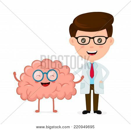 Cute funny smiling doctor and healthy happy brain.Healthcare,medical,friends,doctor,psychologist, psychiatrist concept. Vector flat cartoon character icon design. Isolated on white background
