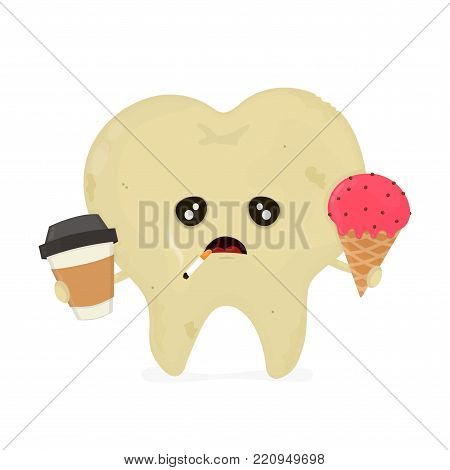 Sad sick dirty unhealthy tooth with coffee,ice cream,smoke cigarette. Hygiene medical, caries concept,bad teeth,nutrition concept. Vector flat illustration icon cartoon character design.