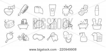 Personal hygiene icon set. Outline set of personal hygiene vector icons for web design isolated on white background