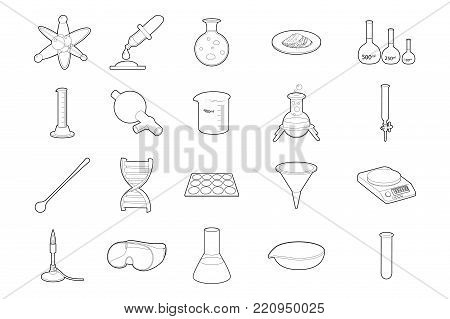 Chemistry tools icon set. Outline set of chemistry tools vector icons for web design isolated on white background