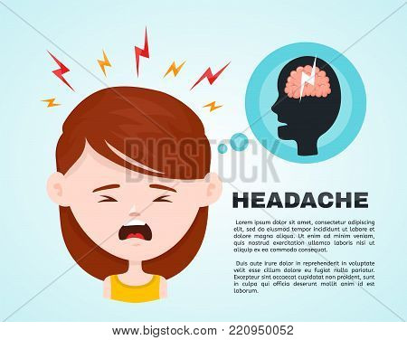Vector flat women with a headache, compassion fatigue, a with a disease of the head, young girl feels anguish. migraine, health problems and pain head stress