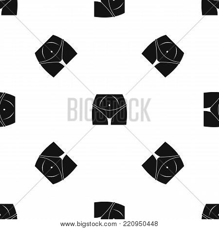 Slim woman body in panties pattern repeat seamless in black color for any design. Vector geometric illustration