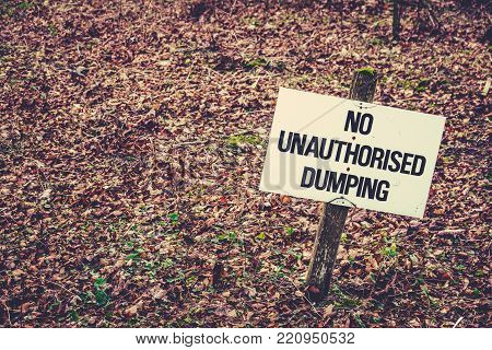 Sign With Copy Space Saying No Dumping
