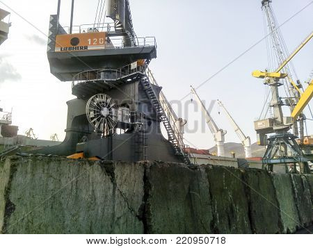 Novorossiysk, Russia - August 20, 2017: Novorossiysk, Russia - August 11, 2016: Self-propelled port crane. Mobile platform for moving the lifting mechanism
