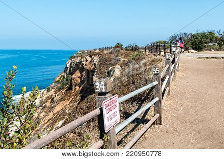 Rancho Palos Verdes, California - September 9, 2017:  People Walk On The Seascape Trail, Enjoying Th