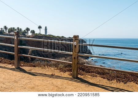 Rancho Palos Verdes, California - September 9, 2017:  The Point Vicente Lighthouse As Seen From The