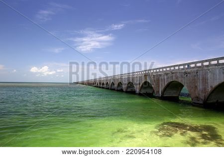 Old Seven Mile Bridge located in the Florida Keys.