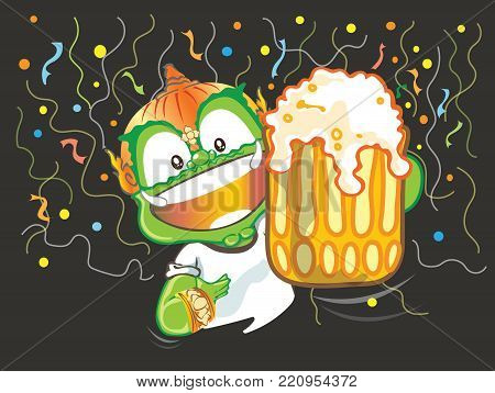 Thai giant cartoon vector acting design illustration, Let go to party cheers and showing beer glass or celebrations, happiness and enjoy concepts isolate has clipping paths.