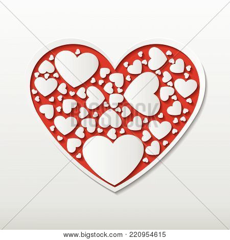 Beautiful Red Paper Cut Heart With White Frame And Many Small Heart Clip Art Enclosed In Heart Frame