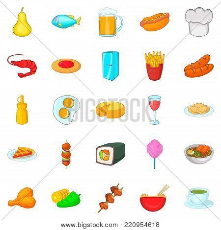 Culinary diversity icons set. Cartoon set of 25 culinary diversity vector icons for web isolated on white background