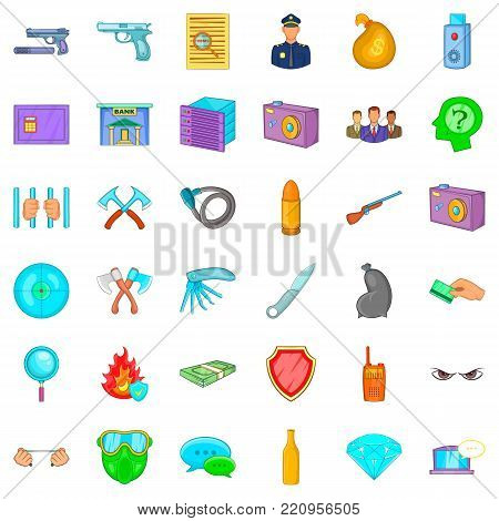 Criminal icons set. Cartoon style of 36 criminal vector icons for web isolated on white background