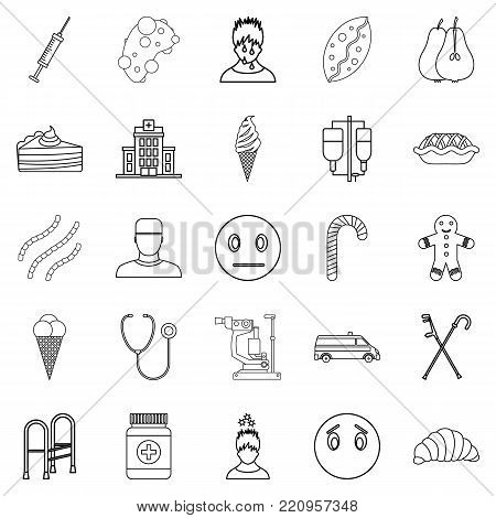 Odontic doctor icons set. Outline set of 25 odontic doctor vector icons for web isolated on white background