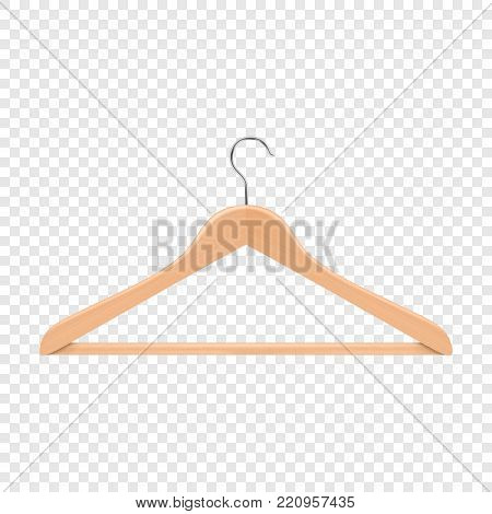 Realistic vector clothes coat wooden hanger close up isolated on transparency grid background. Design template, clipart or mockup for graphics, advertising etc.